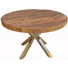 RESTORATION WOODEN  ROUND DINING TABLE 