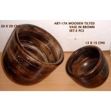 houten pot S/2 brown