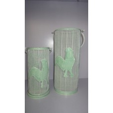 iron rooster lantern s/2 Marble green