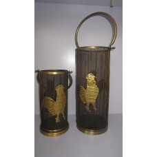iron rooster lantern s/2 Ant. brass