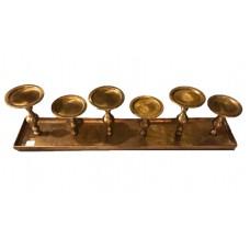 Alu rect. Tray 6 Pillar Ant. Brass