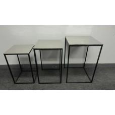 HANDICRAFTS ALUMINIUM SQ. TABLES NESTED SET/3 BLACK BOTTOM