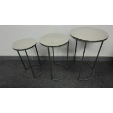HANDICRAFTS ALUMINIUM ROUND TABLES NESTED SET/3 GREEN BOTTOM