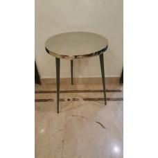 HANDICRAFTS ALUMINIUM TABLE ROUND SMALL GREEN BOTTOM
