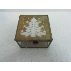 glass box brown x-mass tree small