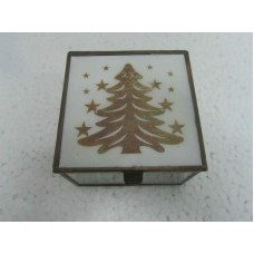 glass box white x-mass tree small