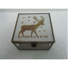 glass box white deer small