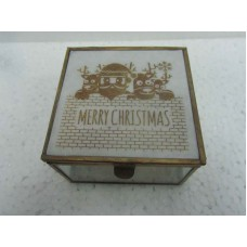 glass box white merry x-mass small