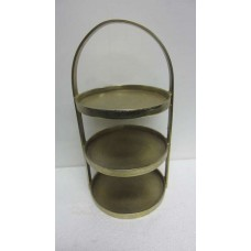 3 TIRE ROUND CAKE STAND WITH BORDER SMALL BRASS RAW