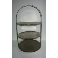 3 TIRE ROUND CAKE STAND LARGE NICKLE RAW