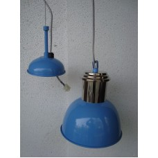 Hanglamp 20 cm rond nickle/blue