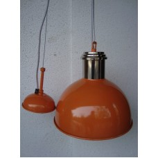 Hanglamp rond 27 cm nickle/orange