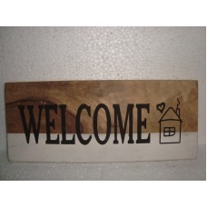 """Tekstbord rechth. """"welcome"""" nat/wit"""