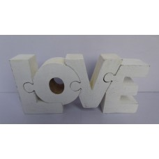 """Hout puzzle """"love"""" white"""